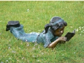 Garden Bronze - Girl Reading Book